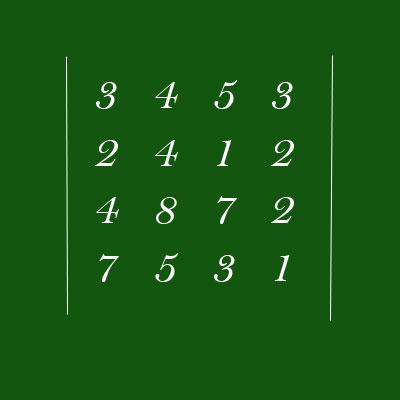 Найдем определитель матрицы из четырех строк и четырех столбцов