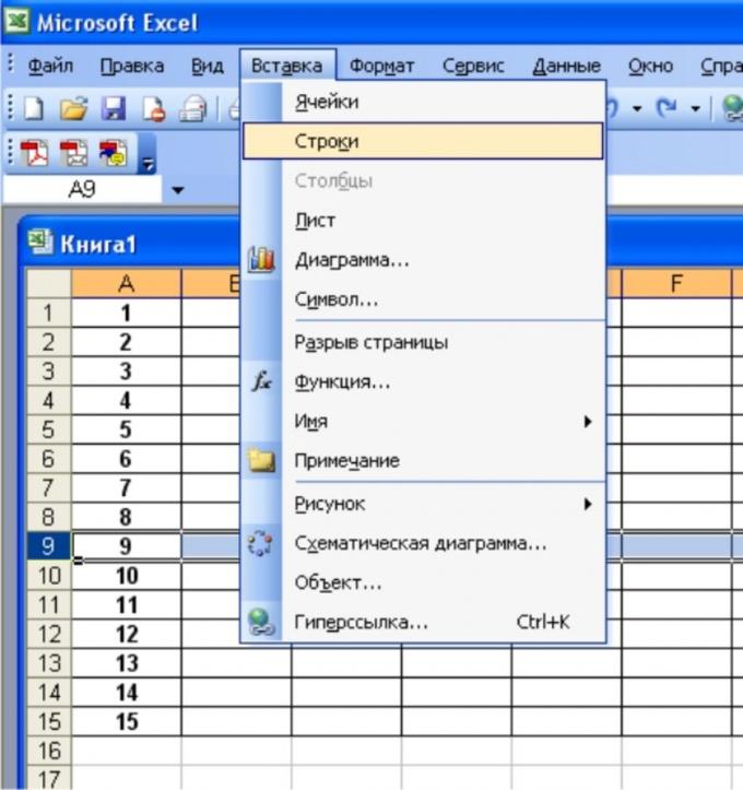 Добавление строк в программе Microsoft Excel 2003