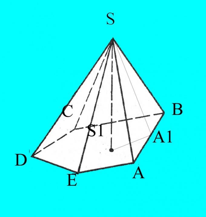 Пирамида с необходимыми обозначениями