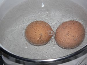 Hard boiled eggs boil 7-8 minutes after boiling