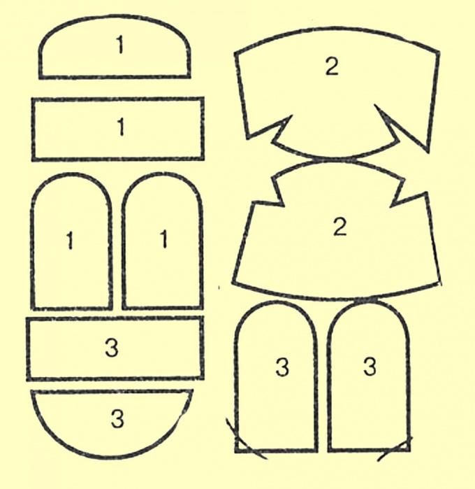 1- детали лицевого окола; 2 - детали колпака; 3 - детали подлицевого окола
