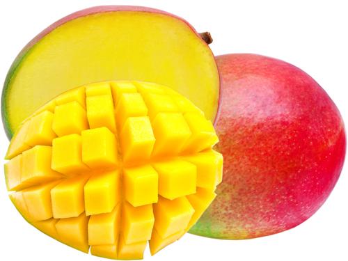 Мякоть спелого манго - ярко-желтого или оранжевого цвета.