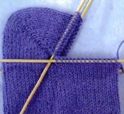 Как связать пятку носка