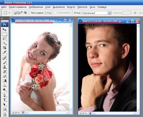Как сделать две картинки в фотошопе