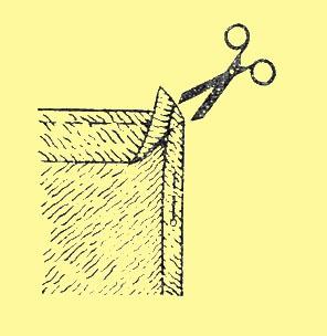 Излигки ткани на углах аккуратно срежьте