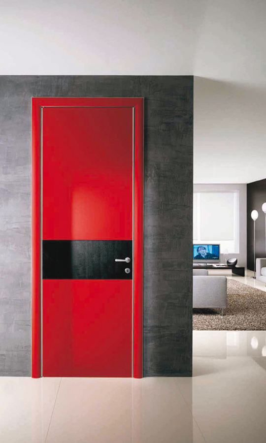 Painted wooden door looks stylish