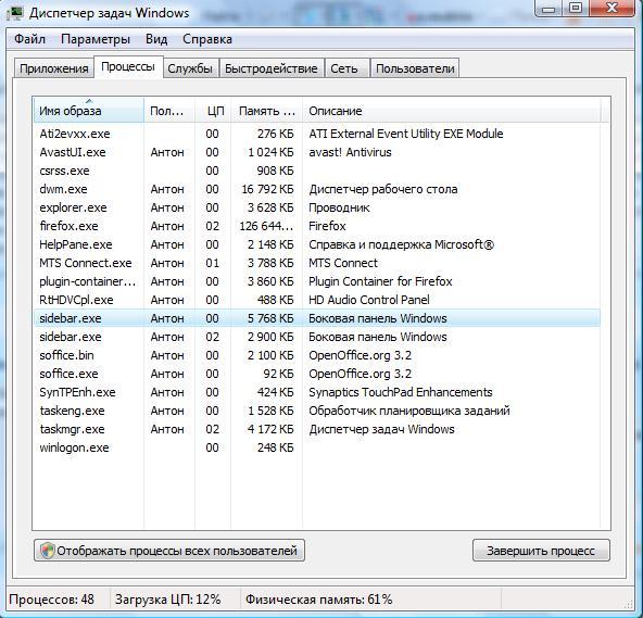 Диспетчер задач, открытый на вкладке «Процессы»