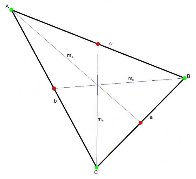 Треугольник и его медианы.