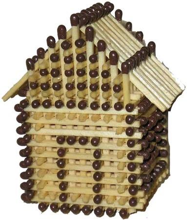 Как построить домик их спичек