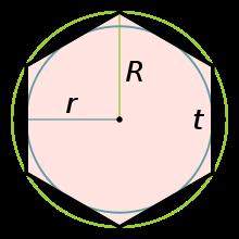 Правильный шестиугольник. R - радиус описанной окружности, r - вписанной, t - сторона шестиугольника.