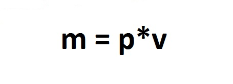 The formula for finding the mass of the body through its volume