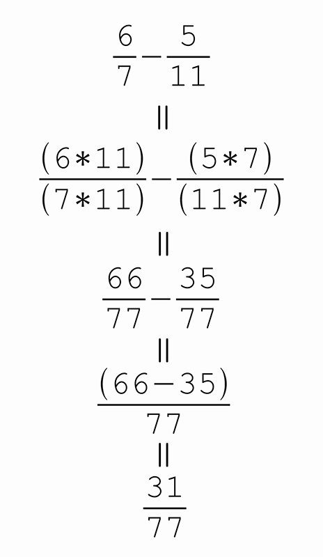 How to subtract fraction with different denominators