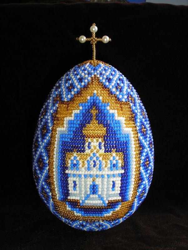 Как украсить пасхальные яйца бисером