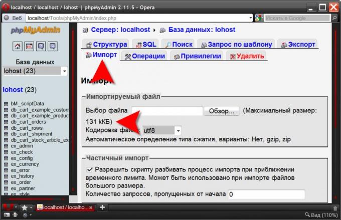 phpMyAdmin: максимальный вес загружаемого файла
