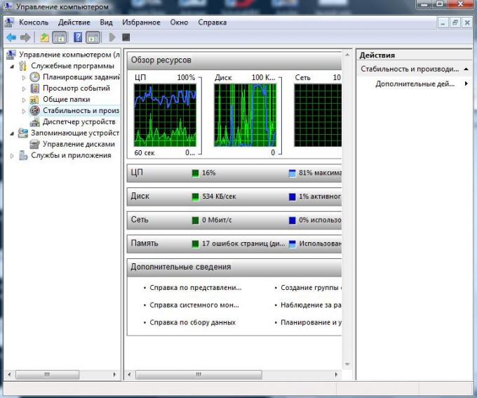 Консоль, с подключенной оснасткой «Управление компьютером»