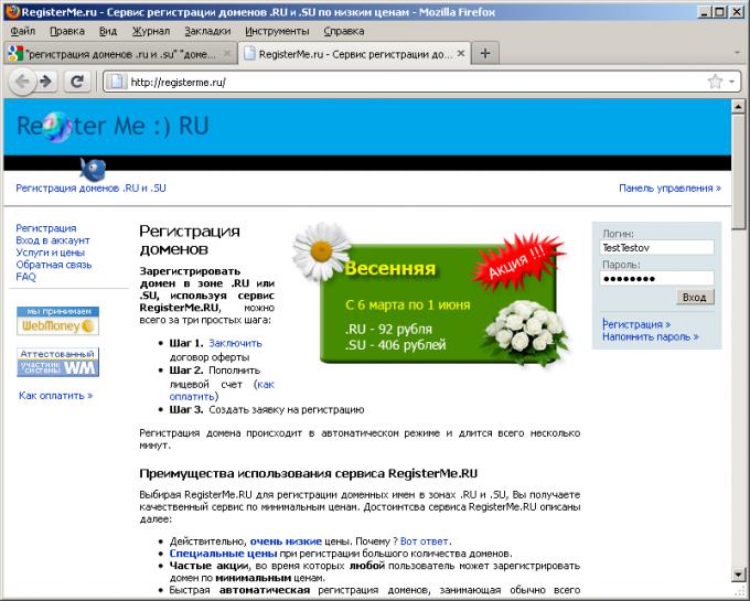 Вход в панель управления сервиса регистрации доменов