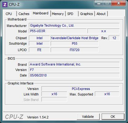 Окно программы CPU-Z. Сведения о материнской плате