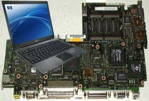 The laptop and its motherboard