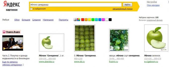 Пример результатов поиска картинок в Яндекс