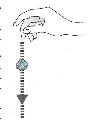 Брошенный камень летит вниз под силой тяжести F, которая направлена вниз.