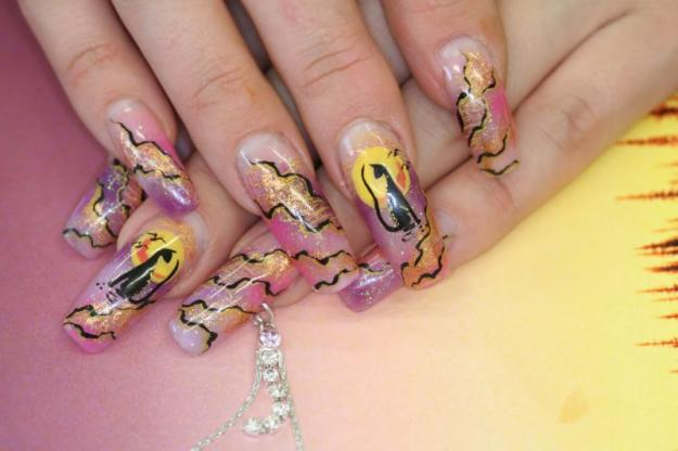 How to draw with gel pens on nails