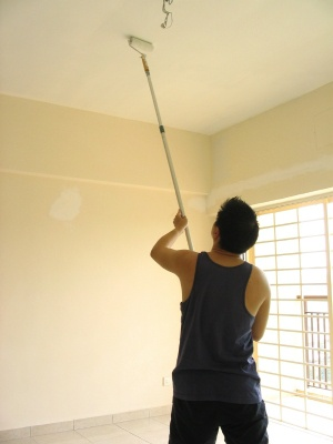 White or painted ceiling.