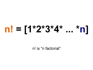 The formula that calculates the factorial