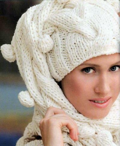 Как связать шарф-шапку