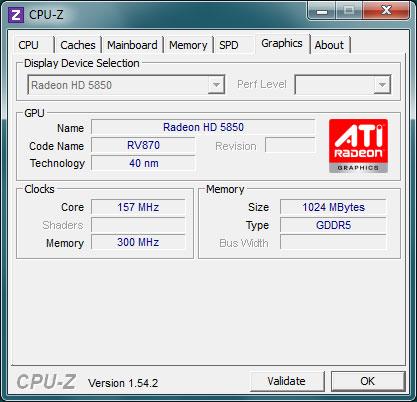 Окно программы CPU-Z. Информация о видеоадаптерах