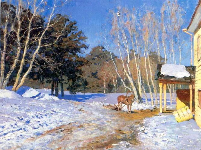 голубые цвета на картине Исаака Левитана «Весна»