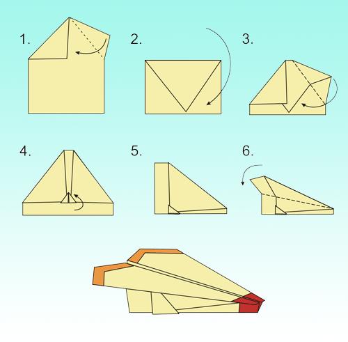 последовательность выполнения самолетика из бумаги