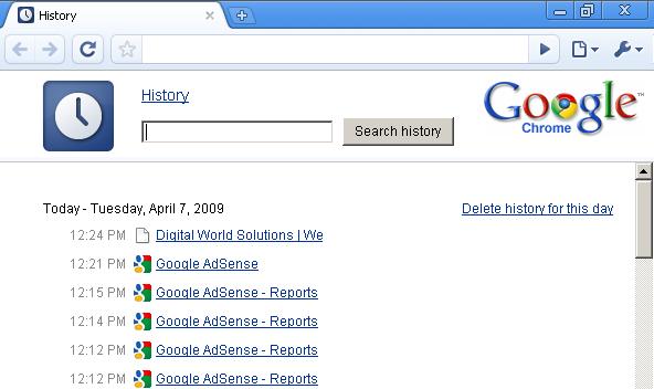 History in Google Chrome