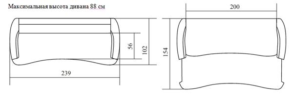 Пример простого чертежа дивана