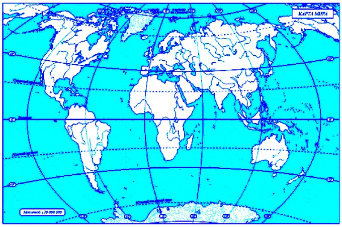 Найдите на контурной карте нужный вам объект