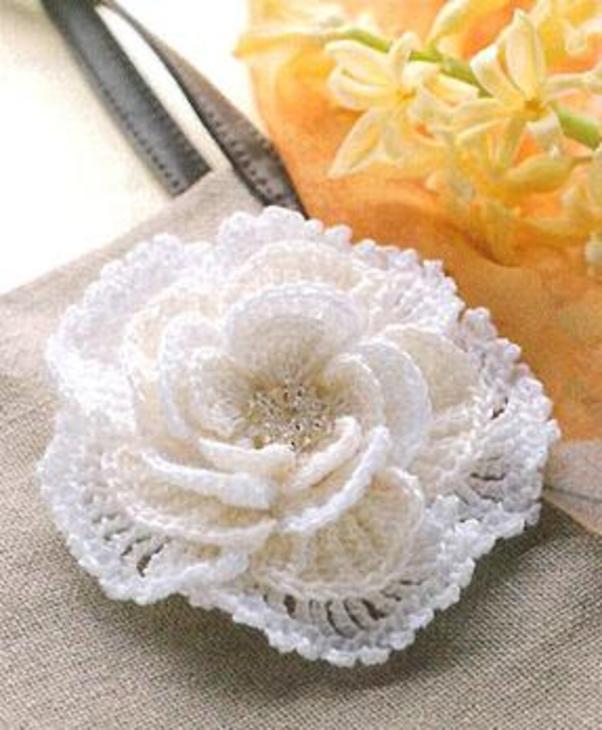 Как связать цветок для шапки