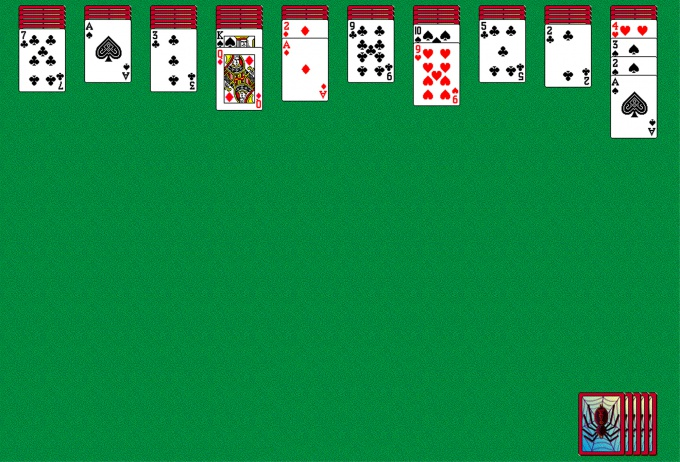 Arrange the cards in 10 columns