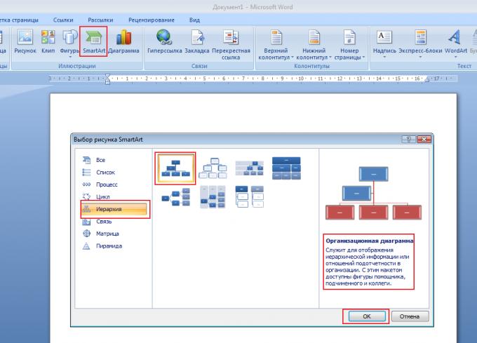 Choosing a SmartArt diagram