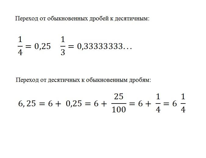 Пример переходов от десятичных дробей к обыкновенным и обратно