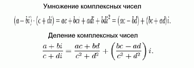 Multiplication and division of complex numbers