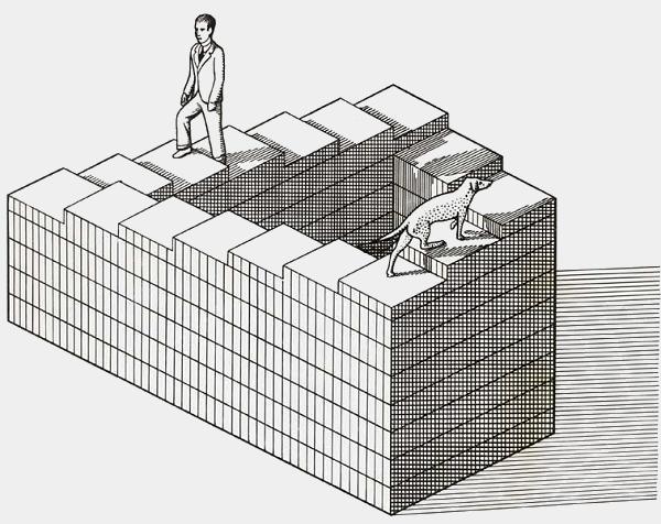 Бесконечная лестница - визуальный аналог расходящегося ряда