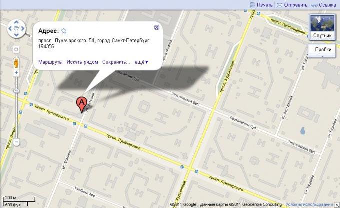 Кусок карты Google по запросу Санкт-Петербург, проспект Луначарского, 54
