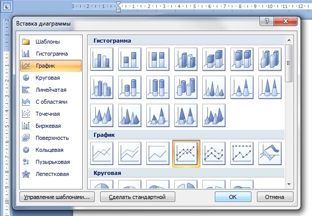 Как нарисовать в ворде график