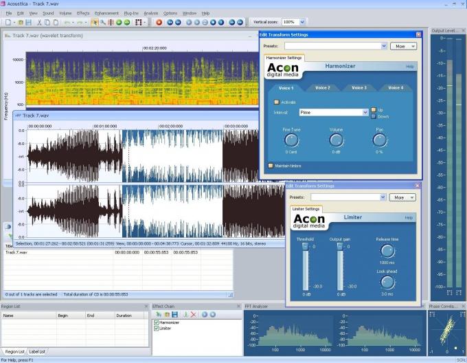 Интерфейс специальной программы для обработки музыки