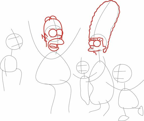 Как рисовать <strong>Симпсонов</strong>. Шаг 2.