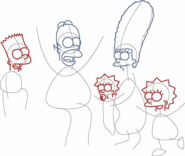 Как рисовать <strong>Симпсонов</strong>. Шаг 3.