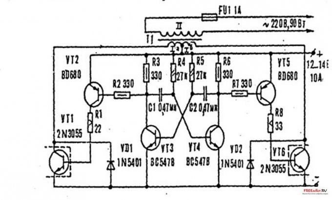 С помощью такой схемы можно поднять напряжение с 12-ти до 220-ти Вольт.