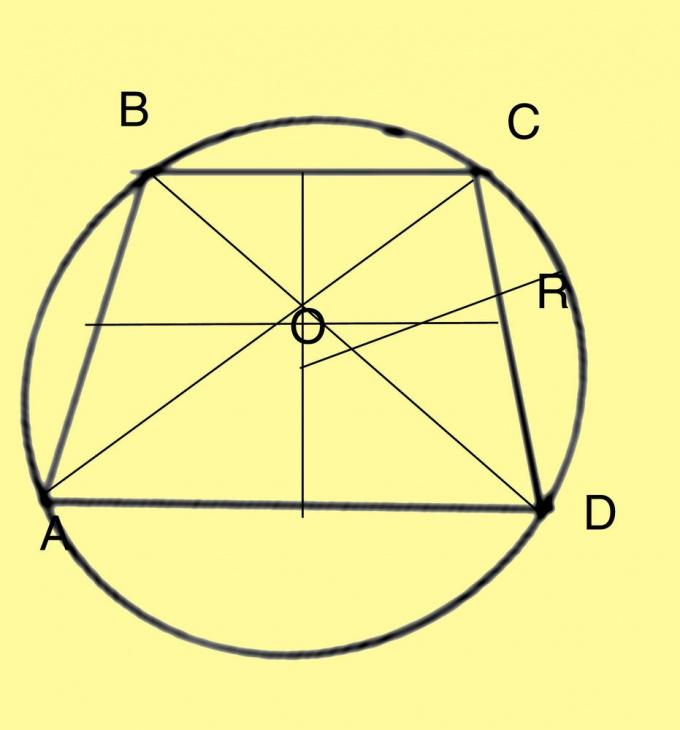 Цеетр окружнсти, описанной вокруг трапеции, лежит в точке пересечения ее серединной линии и оси симметрии