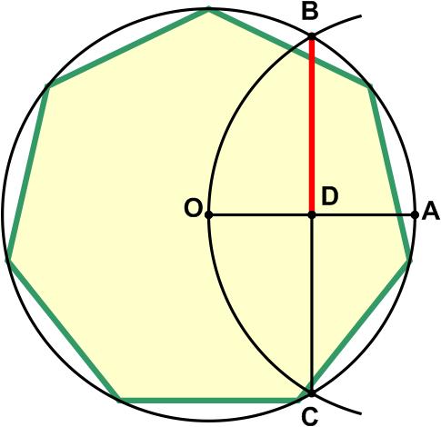 Отрезок BD приблизительно равен стороне семиугольника