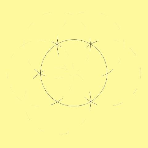 Разделите окружность на части с помощью циркуля