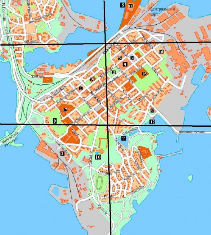 Карта с разделением города на участки